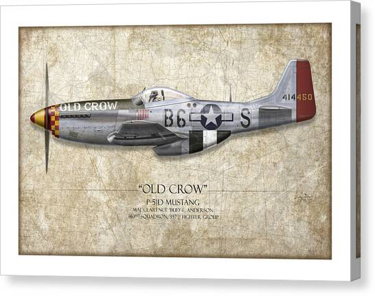 Pinup Canvas Print - Old Crow P-51 Mustang - Map Background by Craig Tinder