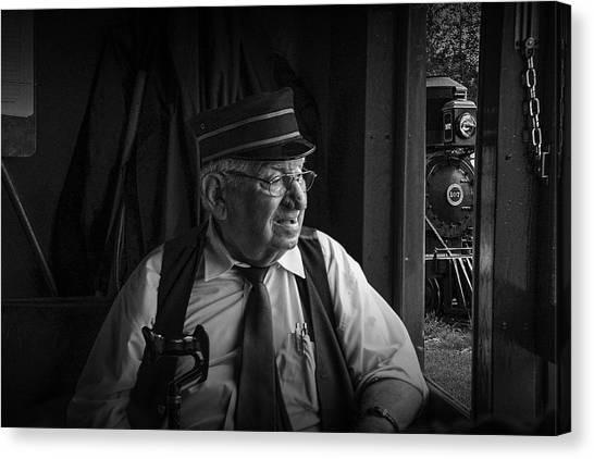 Train Conductor Canvas Print - Old Train Conductor by Randall Nyhof