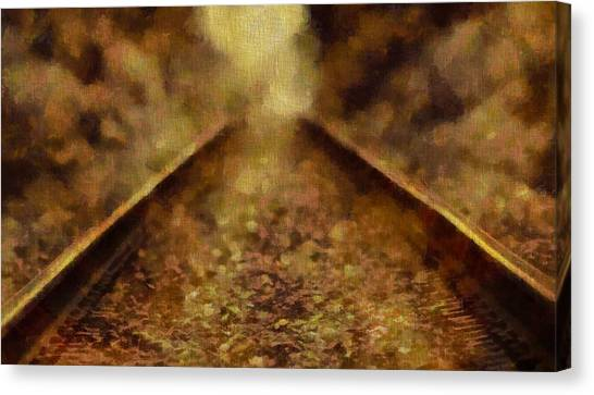 Train Conductor Canvas Print - Old Train Tracks by Dan Sproul