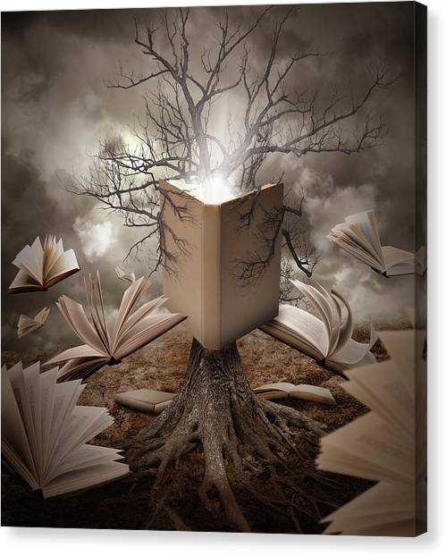 Open Canvas Print - Old Tree Reading Story Book by Angela Waye