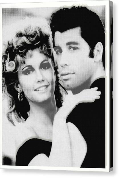 Olivia Newton John And John Travolta In Grease Collage Canvas Print