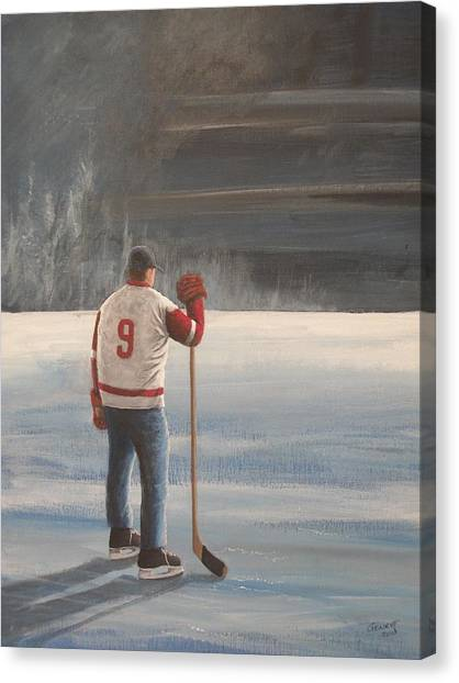 Gordie Howe Canvas Print - On Frozen Pond - Gordie by Ron  Genest