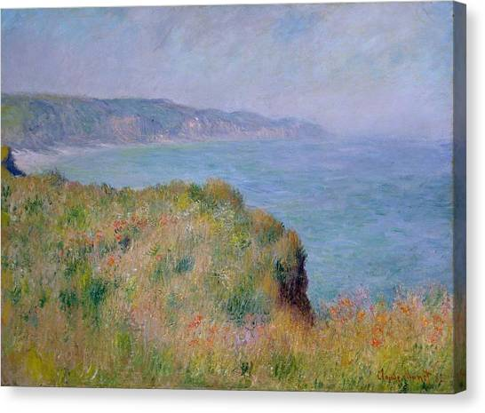 The Metropolitan Museum Of Art Canvas Print - On The Cliff At Pourville by Claude Monet