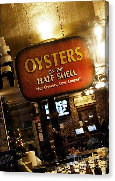 Oysters Canvas Print - On The Half Shell by Scott Pellegrin