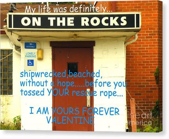 On The Rocks Valentine Canvas Print by Joe Jake Pratt