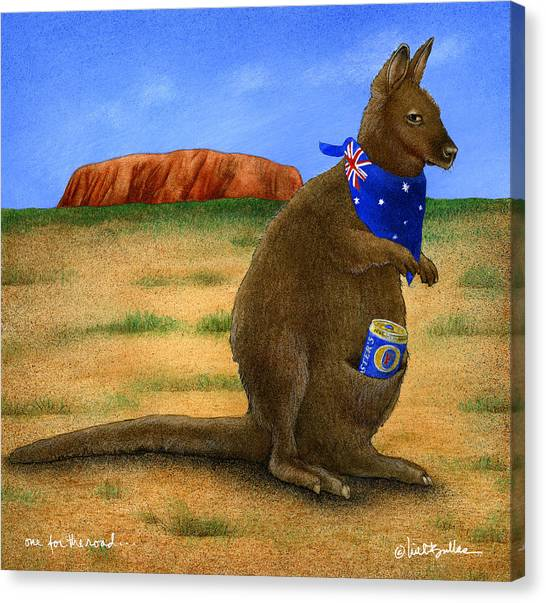 Kangaroo Canvas Print - One For The Road... by Will Bullas