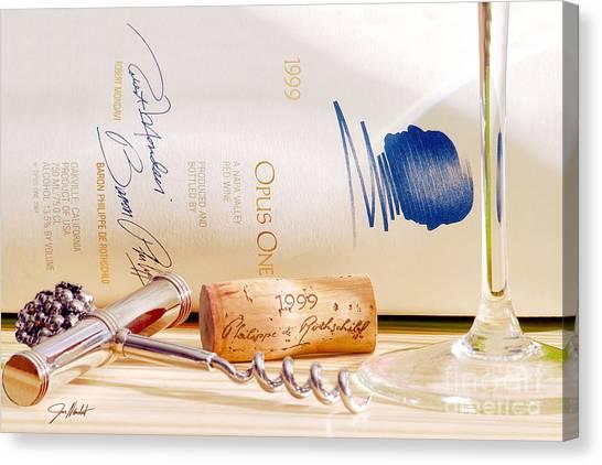 Wine Bottles Canvas Print - One  Love by Jon Neidert