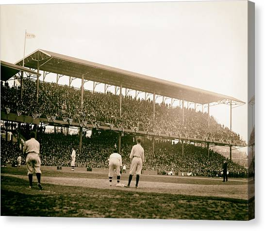 Analog Canvas Print - Opening Day At Griffith Stadium - Washington Dc 1922 by Mountain Dreams