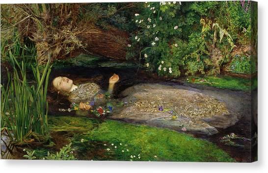 Canvas Print featuring the painting Ophelia by John Everett Millais