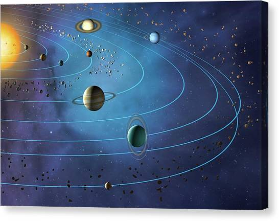 Sun Belt Canvas Print - Orbits Of Planets In The Solar System by Mark Garlick