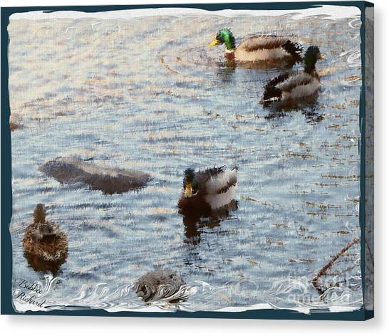 Matting Canvas Print - Out For A Swim Painting by Bobbee Rickard