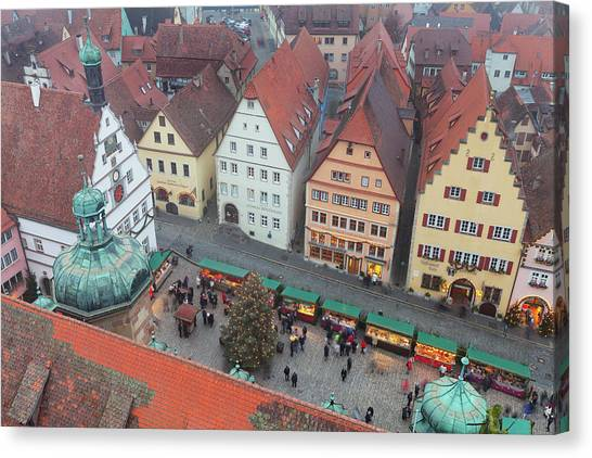 House Of Worship Canvas Print - Overhead View Of The Christmas Market by Panoramic Images