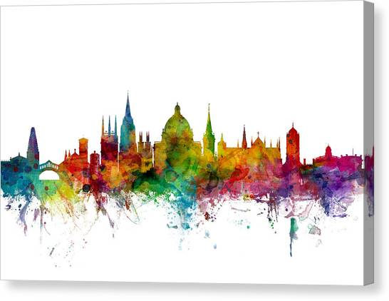 England Canvas Print - Oxford England Skyline by Michael Tompsett