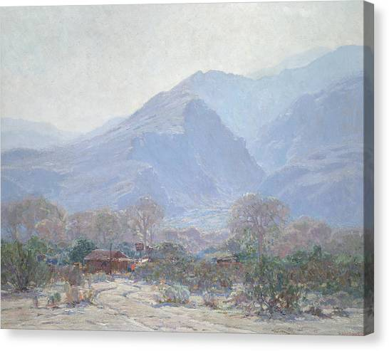 Sonoran Desert Canvas Print - Palm Springs Landscape With Shack by John Frost