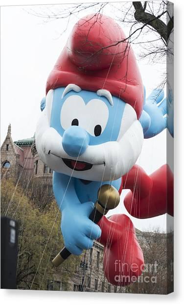 Macys Parade Canvas Print - Papa Smurf Balloon At Macy's Thanksgiving Day Parade by David Oppenheimer