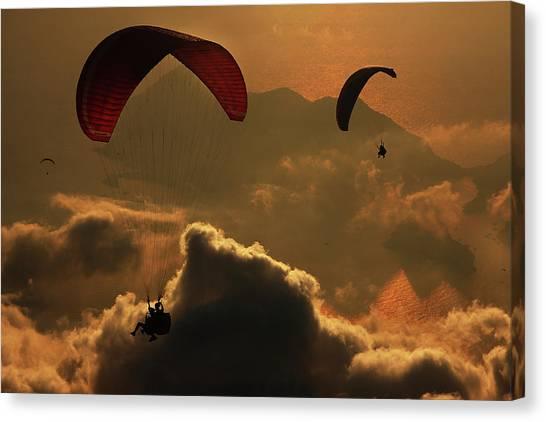 Flight Canvas Print - Paragliding by Yavuz Sariyildiz