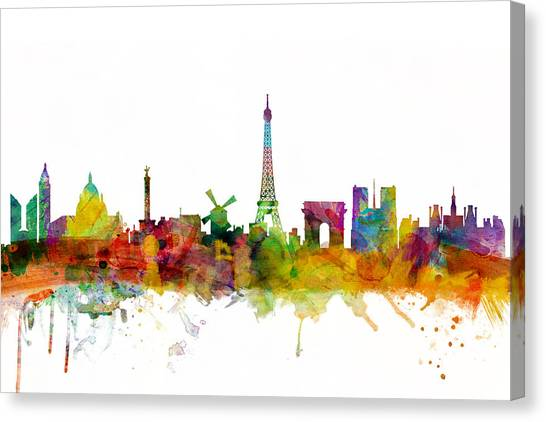 Eiffel Tower Canvas Print - Paris France Skyline by Michael Tompsett