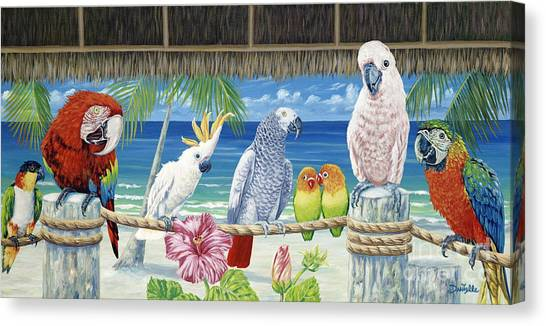 Print On Canvas Print - Parrots In Paradise by Danielle  Perry