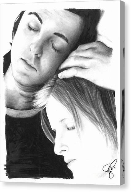 Paul And Linda Mccartney Canvas Print by Rosalinda Markle