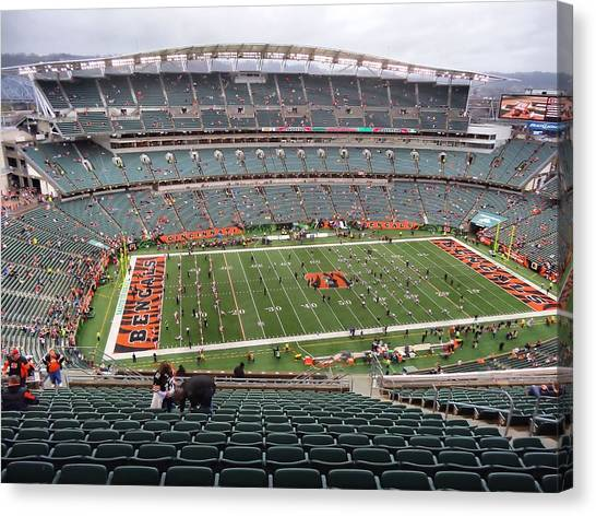 Running Backs Canvas Print - Paul Brown Stadium by Dan Sproul
