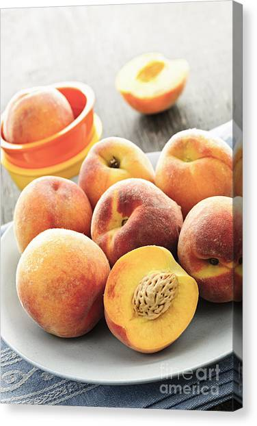 Fruit Canvas Print - Peaches On Plate by Elena Elisseeva