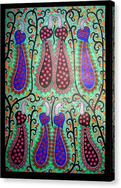 Peacocks-madhubani Painting Canvas Print