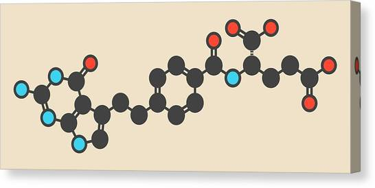 Pemetrexed Lung Cancer Drug Molecule Canvas Print by Molekuul