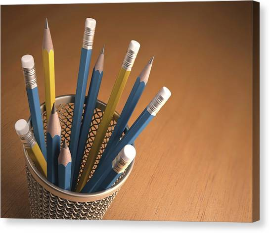 Pencils In A Pot Canvas Print by Ktsdesign