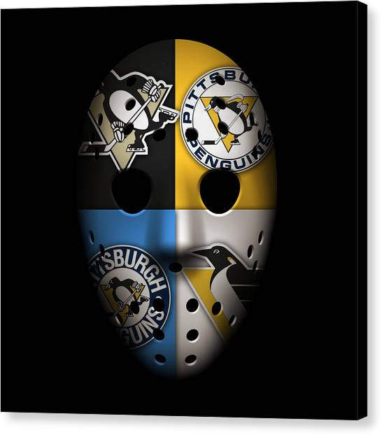 Ice Skating Canvas Print - Penguins Goalie Mask by Joe Hamilton
