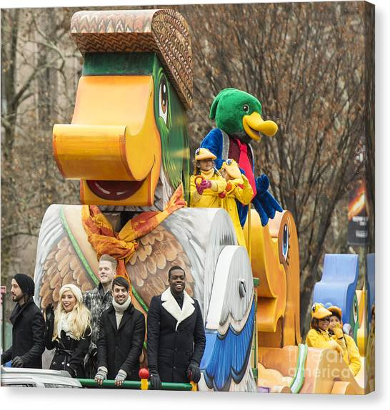 Macys Parade Canvas Print - Pentatonix On Homewood Suites Float At Macy's Thanksgiving Day Parade by David Oppenheimer