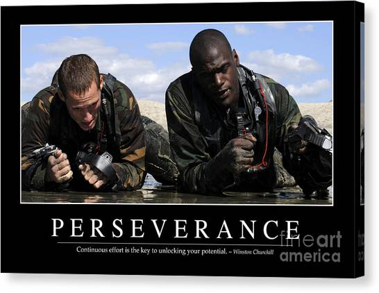 Special Forces Canvas Print - Perseverance Inspirational Quote by Stocktrek Images