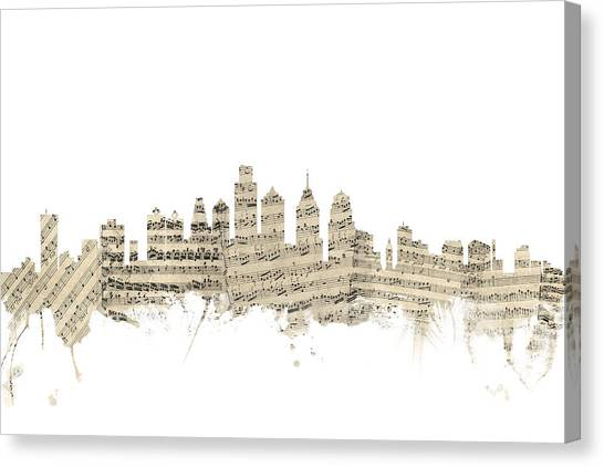 Philadelphia Canvas Print - Philadelphia Pennsylvania Skyline Sheet Music Cityscape by Michael Tompsett