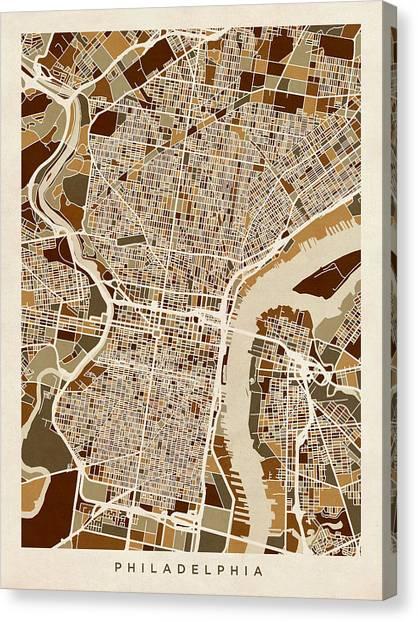 Philadelphia Canvas Print - Philadelphia Pennsylvania Street Map by Michael Tompsett