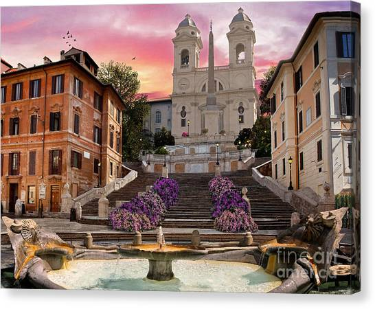 Peace Tower Canvas Print - Piazza Di Spagna by Dominic Davison
