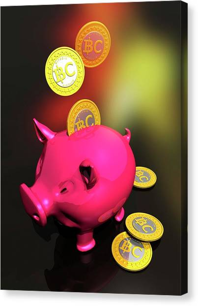 Piggy Bank And Bitcoins Canvas Print by Victor Habbick Visions