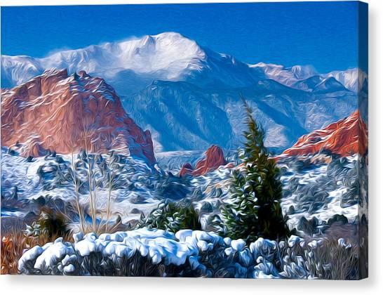 Pikes Peak In Winter Canvas Print