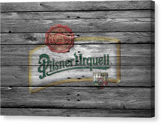 Beer Can Canvas Print - Pilsner Urquell by Joe Hamilton