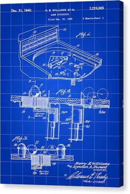 Elton John Canvas Print - Pinball Machine Patent 1939 - Blue by Stephen Younts