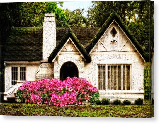Cottage Style Canvas Print - Pink Azaleas - Old Southern Charm By Sharon Cummings by Sharon Cummings