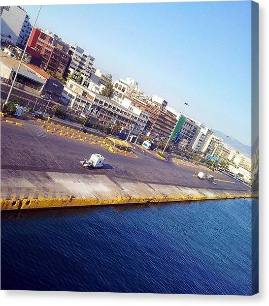 Backpacks Canvas Print - #pireus #athens #harbour #greece #sea by Dromokratis - Moe Thunderbolt
