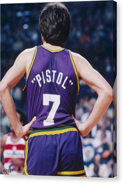 La Lakers Canvas Print - Pistol Pete Maravich by Sebastian Plat