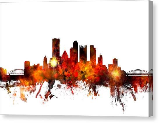 Pennsylvania Canvas Print - Pittsburgh Pennsylvania Skyline by Michael Tompsett