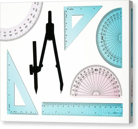 Protractors Canvas Print - Plastic Instruments Used In Geometry by Lawrence Lawry