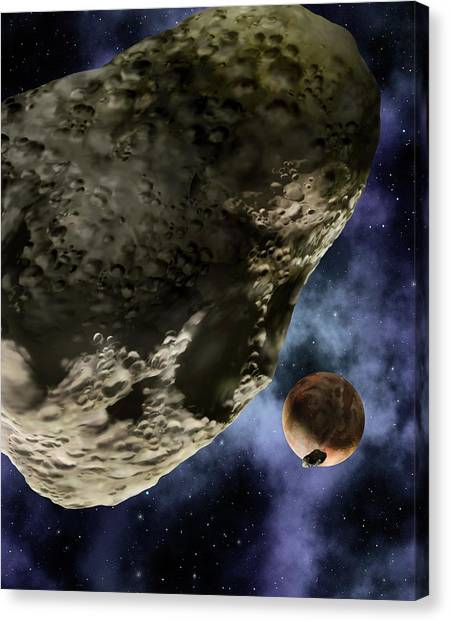Pluto Canvas Print - Pluto And Its Moons by Lynette Cook