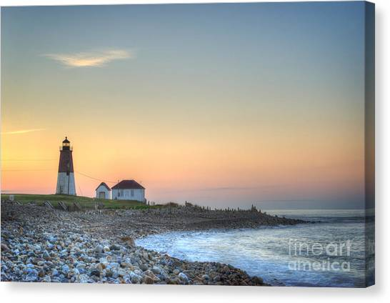 Coast Guard Canvas Print - Point Judith Lighthouse by Juli Scalzi