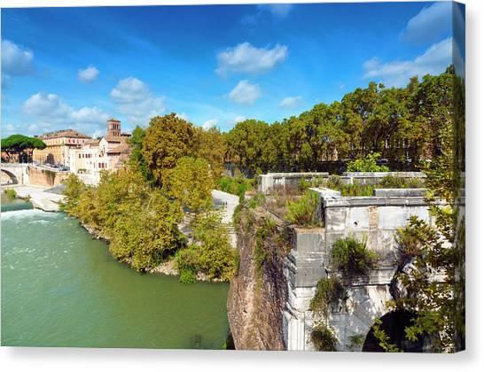 Ponte Emilio Today Called Ponte Rotto Canvas Print by Nico Tondini