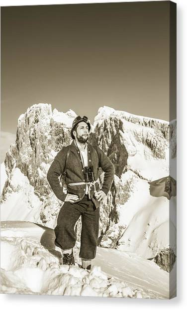 Portrait Of A Bearded Man In Old Nostalgic Skiing Outfit Canvas Print by Leander Nardin