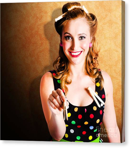 Polkadots Canvas Print - Portrait Of A Happy Pin Up Cleaning Woman by Jorgo Photography - Wall Art Gallery