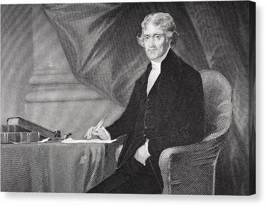 President Jefferson Canvas Print - Portrait Of Thomas Jefferson by Alonzo Chappel