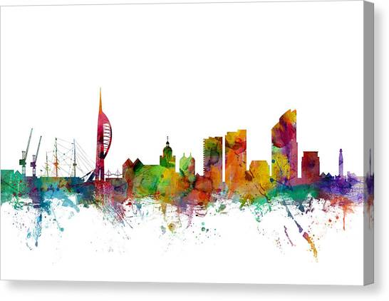 United Kingdom Canvas Print - Portsmouth England Skyline by Michael Tompsett